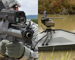 Two new futuristic weapons an autonomous weaponized waverunner drone and a smart grenade launcher that can destroy hidden targets